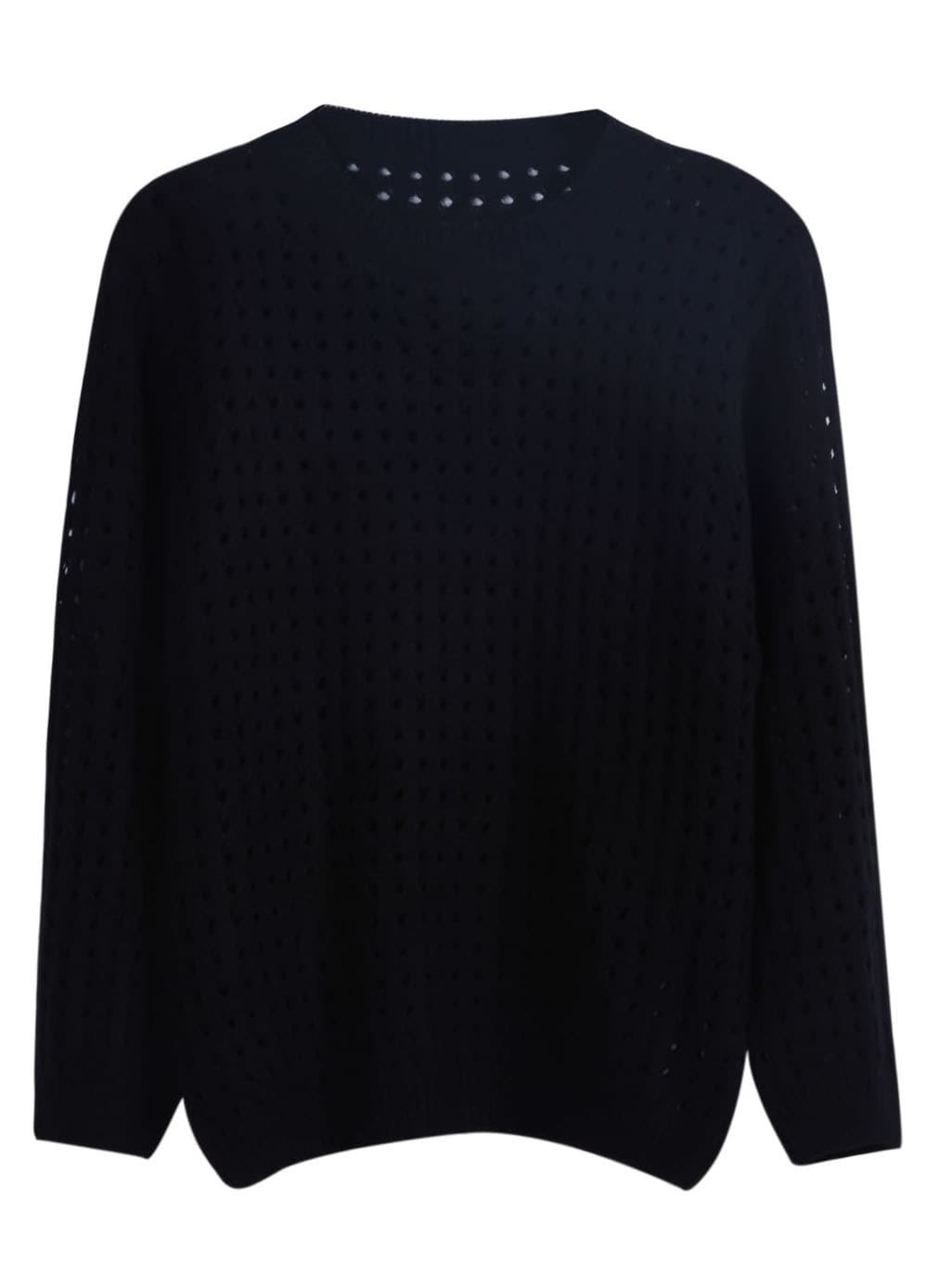Black Long Sleeve Hollow Pullover Knit Sweater -SheIn(Sheinside)
