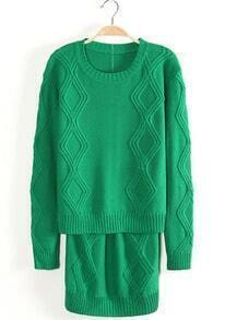 Green Long Sleeve Diamond Patterned Knit Top With Skirt