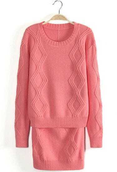 Pink Long Sleeve Diamond Patterned Knit Top With Skirt