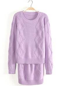 Purple Long Sleeve Diamond Patterned Knit Top With Skirt