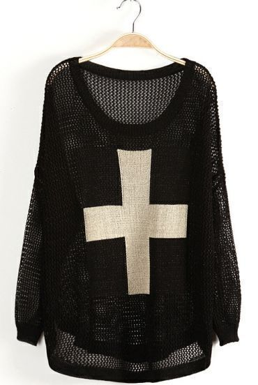 Black Long Sleeve Metallic Yoke Cross Pattern Sweater