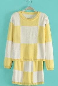 Yellow White Plaid Long Sleeve Sweater With Skirt