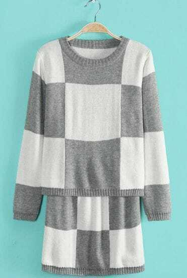 Grey White Plaid Long Sleeve Sweater With Skirt