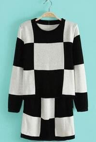 Black White Plaid Long Sleeve Sweater With Skirt