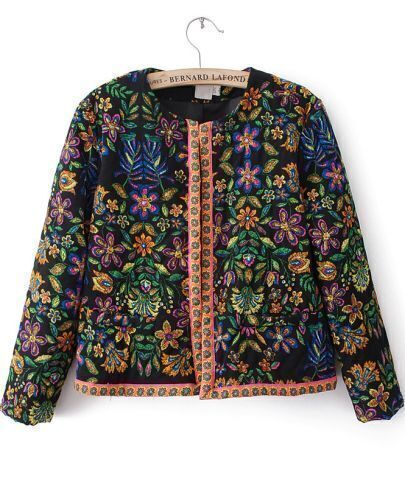Black Long Sleeve Floral Crop Outerwear
