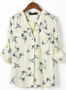 Beige V Neck Long Sleeve Birds Print Blouse
