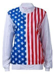 White Long Sleeve Vertical Stripe Stars Print Jacket