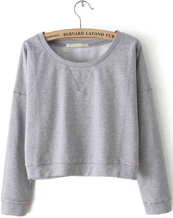 Grey Round Neck Long Sleeve Crop Sweatshirt -SheIn(Sheinside)