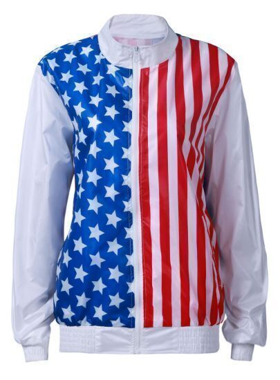 White Long Sleeve Vertical Stripe Stars Print Jacket