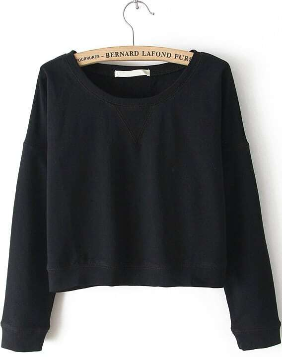 Black Round Neck Long Sleeve Crop Sweatshirt -SheIn(Sheinside)