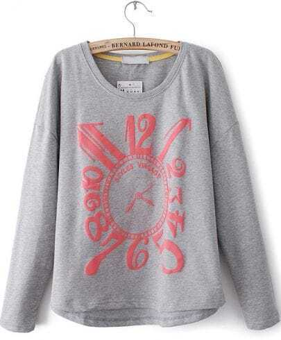 Grey Long Sleeve Clock Print Sweatshirt