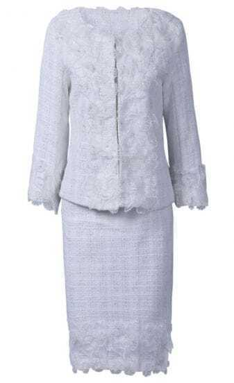 White Long Sleeve Embroidery Bead Top With Skirt