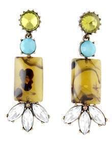 Yellow Gemstone Geometric Crystal Earrings
