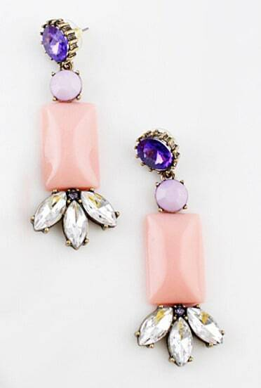 Pink Gemstone Geometric Crystal Earrings