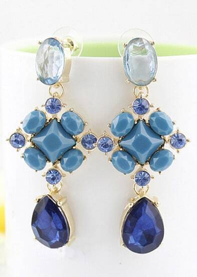 Blue Drop Gemstone Gold Geometric Earrings