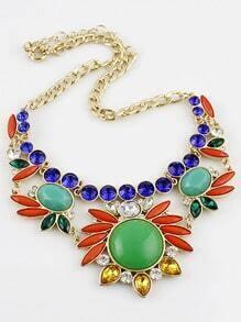 Multi Gemstone Gold Flower Necklace