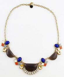 Multi Geometric Gemstone Gold Chain Necklace