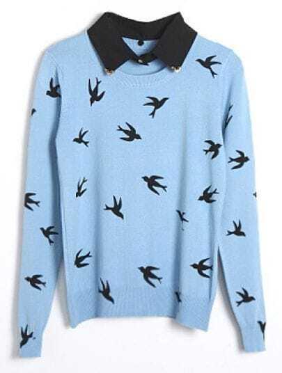 Light Blue Long Sleeve Birds Print Pullovers Sweater