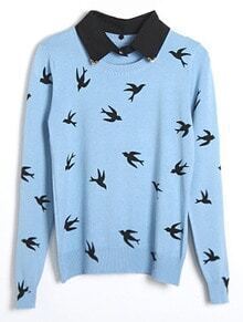 Light Blue Long Sleeve Birds Print Pullovers Sweater