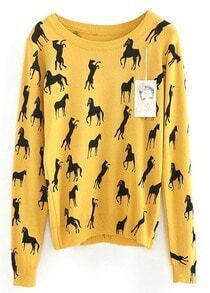 Yellow Long Sleeve Horse Print Slim Jumper
