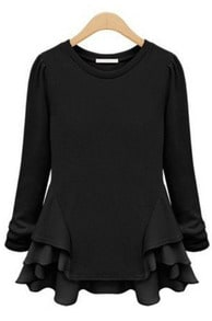 Black Long Sleeve Contrast Chiffon Ruffles T-Shirt