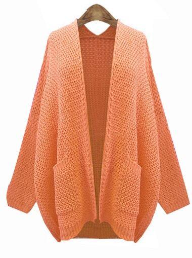 Orange Long Sleeve Pockets Cardigan Knit Sweater -SheIn(Sheinside)