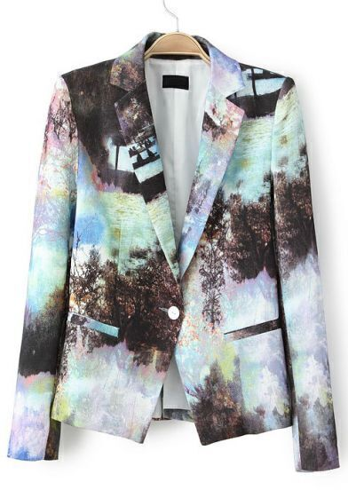 Multi Notch Lapel Landscape Painting Print Blazer