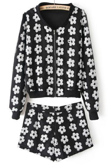 Black White Long Sleeve Floral Jacket With Shorts