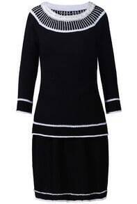 Black Long Sleeve Bead Contrast Trims Top With Skirt