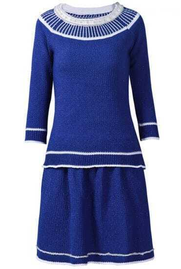 Blue Long Sleeve Bead Contrast Trims Top With Skirt