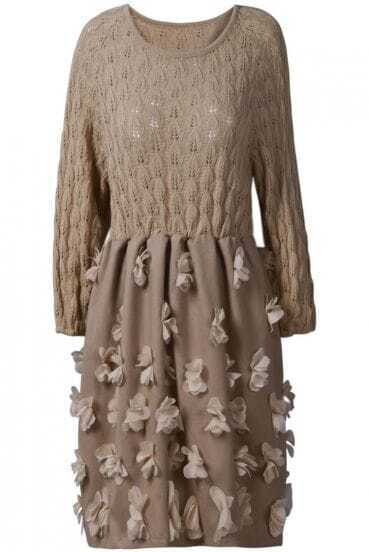 Khaki Long Sleeve Hollow Applique Sweater Dress
