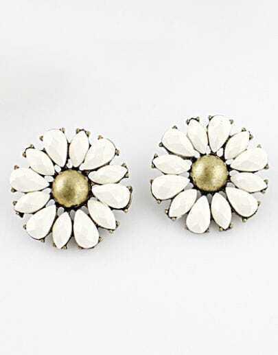 White Gemstone Retro Gold Flower Stud Earrings