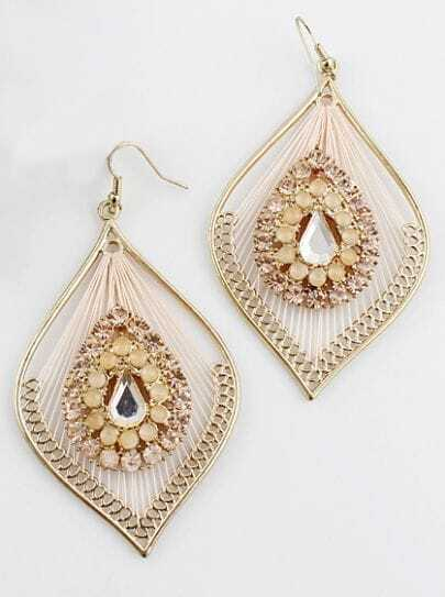 Pink Crystal Gold Hollow Leaf Earrings