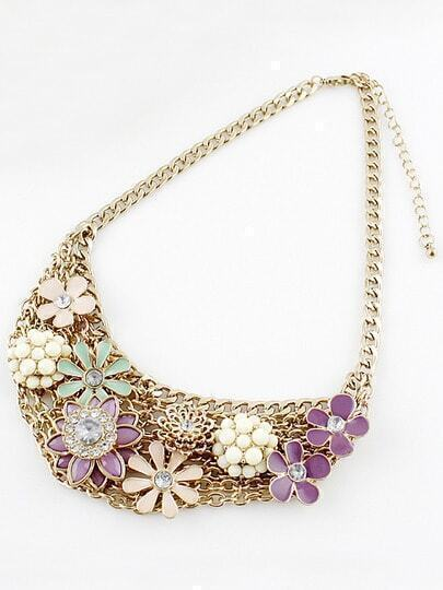 Multi Gemstone Gold Flowers Chain Collar Necklace