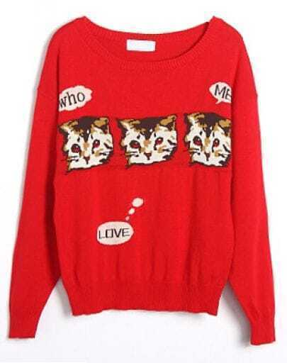 Red Batwing Long Sleeve Cats Print Sweater