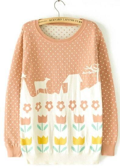 Khaki Long Sleeve Polka Dot Flower Pattern Sweater