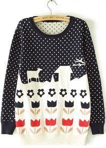 Navy Long Sleeve Polka Dot Flower Pattern Sweater
