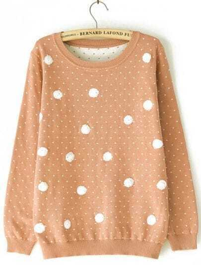 Khaki Long Sleeve Polka Dot Pullover Sweater
