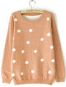 Khaki Long Sleeve Polka Dot Pullover Sweater