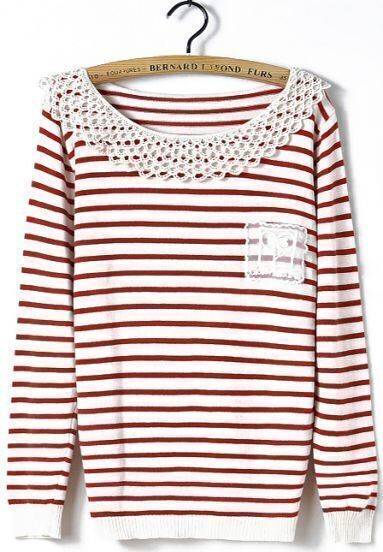 Red White Striped Long Sleeve Contrast Hollow Sweater