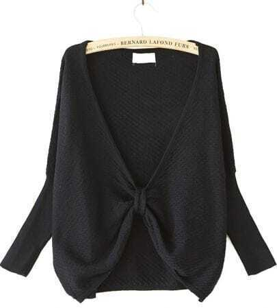 Black Long Sleeve Hollow Knit Sweater
