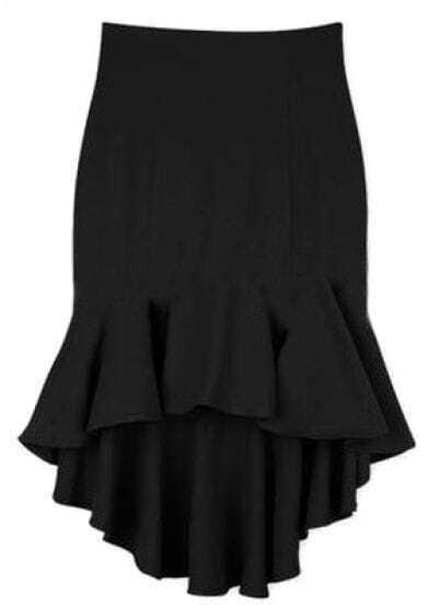 Black Ruffles High Low Bodycon Skirt