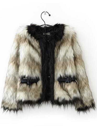 Grey White Striped Long Sleeve Fur Outerwear