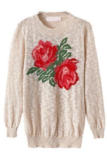 Apricot Long Sleeve Rose Pattern Knit Sweater