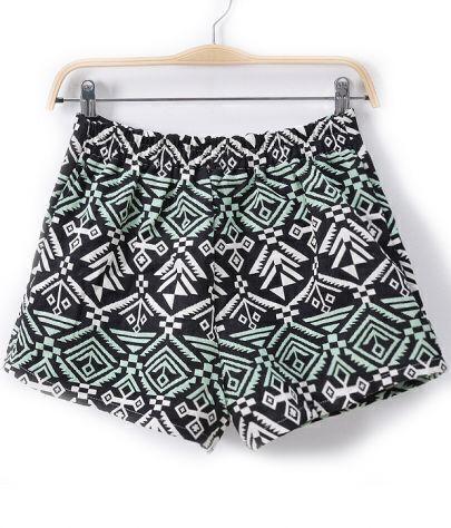 Green Elastic Waist Geometric Print Shorts