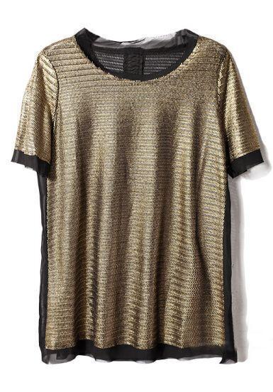 Gold Short Sleeve Contrast Chiffon Loose T-Shirt