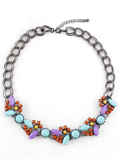 Multi Gemstone Silver Double Layers Chain Necklace