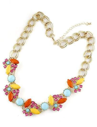 Multi Gemstone Gold Double Layers Chain Necklace