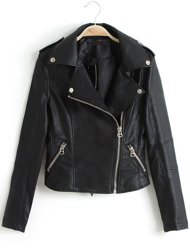 Black Lapel Long Sleeve Zipper Leather Jacket -SheIn(Sheinside)