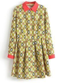 Yellow Contrast Lapel Geometric Print Dress